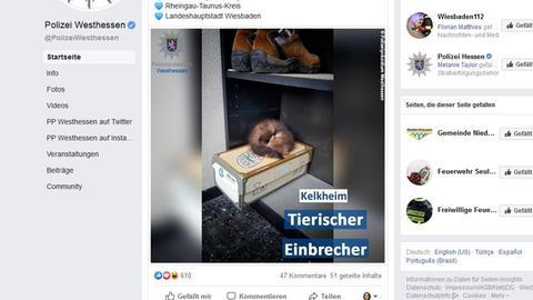 Screenshot der Facebook-Seite von Polizei Westhessen