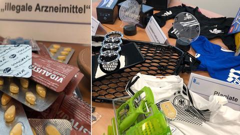 Vom Zoll Frankfurt aus dem Verkehr gezogene Plagiate und gefälschte Medikamente.