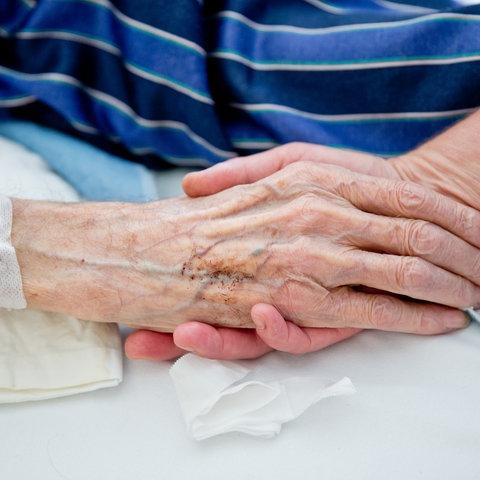 Eine junge Hand hält die Hand eines alten Menschen