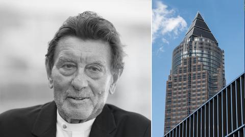 Collage_Helmut Jahn, Architekt (s/w) und Messeturm
