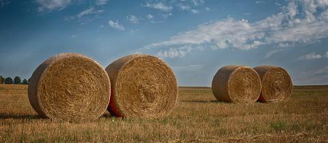 Strohballen auf einem Feld bei Wetzlar