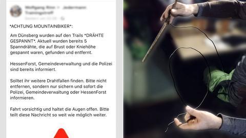 Bildkombi: Warnung bei Facebook - Draht mit Pflöcken