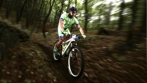 Ein Mountainbiker unterwegs im Wald.