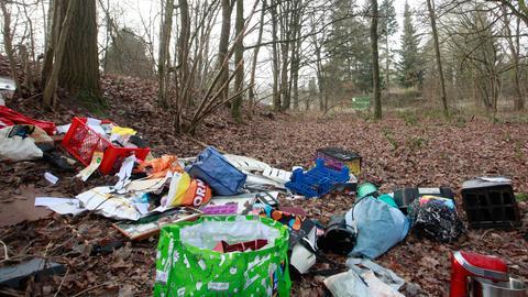 Eine Stelle im Wald ist bedeckt mit Müll, darunter Plastiktüten, Elektrogeräte und Kisten