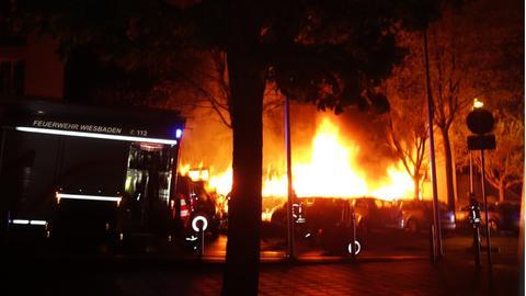Brennende Mülltonnen Wiesbaden