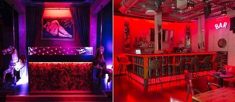 """Eine Kombination aus zwei Fotos zeigt das Interieur eines Nachtclubs. Links eine Nische mit einem Wandbild einer liegenden Nackten und zwei Pferdchen-Objekte davor im Schummerlicht. Rechts der Tresen des Clubs mit den leuchtenden Buchstaben """"BAR"""" an der Wand daneben - auch im roten Licht gehalten."""