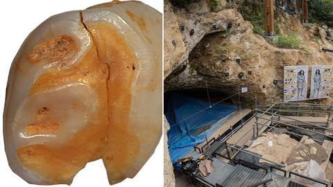 Bildkombo: Milchzahn eines Neandertalers/ Fundort: Eine Höhle in Italien