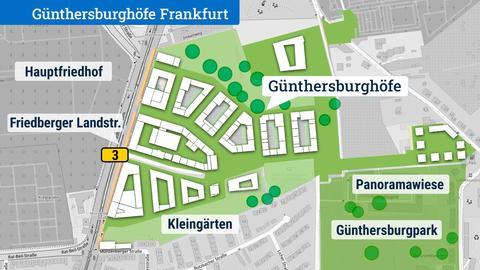 Karte mit skizzenhaftem Neubaugebiet an der Friedberger Landstraße