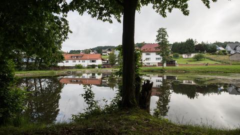 Der Löschteich in Neukirchen, in dem drei Geschwisterkinder ertrunken sind.
