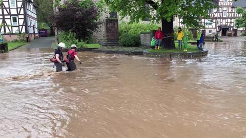Überschwemmung in Niederkaufungen.