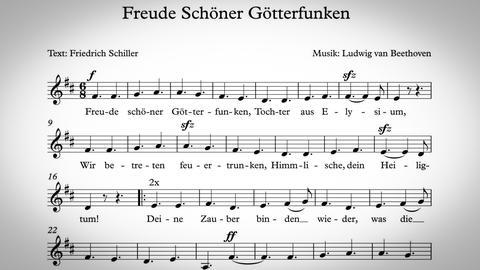 """Text und Noten von """"Freude schöner Götterfunken"""""""