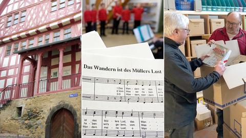 Drei Fotos zeigen das Gebäude, in dem das Archiv gegenwärtig untergebracht ist, ein Foto mit Noten und die Mitarbeiter des Archivs beim Packen der Kisten.