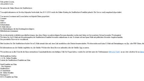 E-Mail der Stadtbücherei an Nutzer