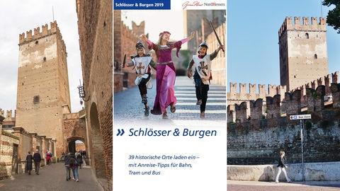 """Die Bildkombination zeigt zwei Fotos der italienischen Burg Castelvecchio in Verona und das Cover der NVV-Broschüre """"Schlösser und Burgen""""."""