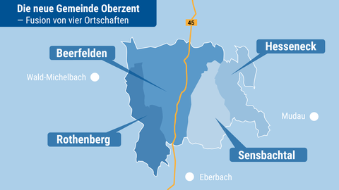 Die Grafik zeigt die vier Ortschaften, die fusioniert wurden.