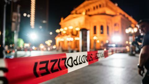 Gesperrter Opernplatz in Frankfurt