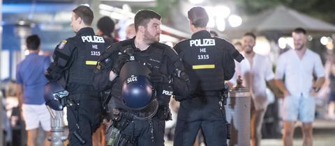 Polizei auf dem Opernplatz in Frankfurt