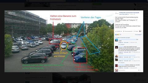 """Screenshot der Facebook-Seite """"Parksünder Hochschule Darmstadt"""""""