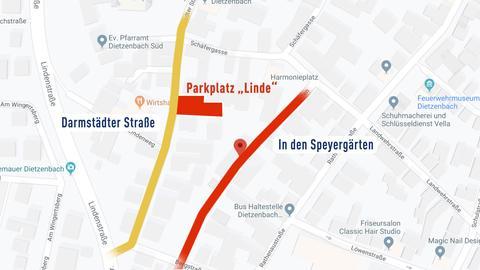 Karte mit betroffener Straße und gesperrtem Parkplatz