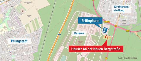 """Die Karte zeigt den Standort der Häuser """"An der Neuen Bergstraße"""" und das benachbarte Unternehmen R-Biopharm."""