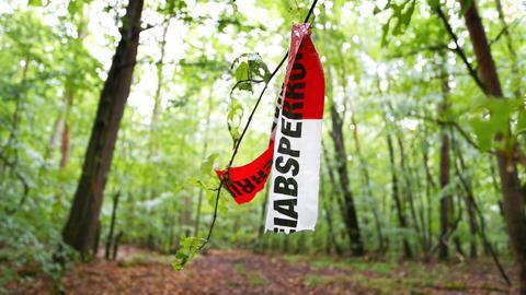 Absperrband der Polizei im Wald