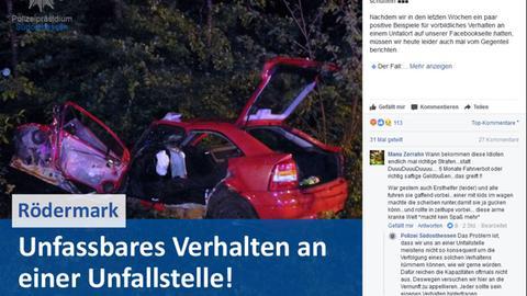 Facebook-Post vom Polizeipräsidium Südosthessen