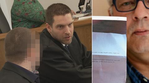 Bildkombo: Angeklagter vor Gericht, Opfer Goerke mit Drohbrief