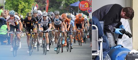 Bildkombination Radrennen Spurensicherung