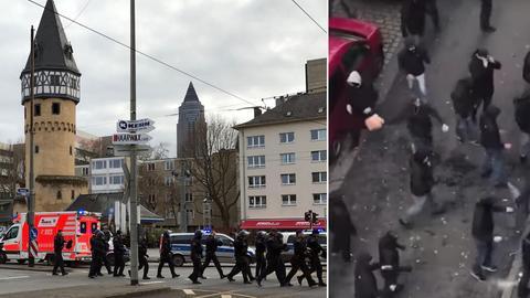 Polizisten und Rettungswagen in Frankfurt-Bockenheim