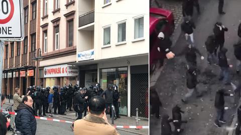 Polizisten und Rettungswagen in Frankfurt-Bockenheim / Randalierende Fans