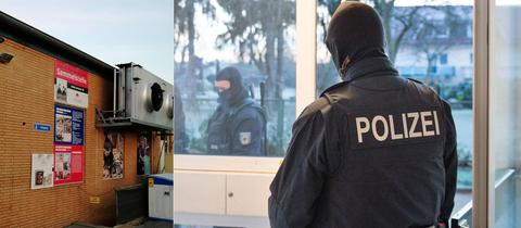 Sammelstelle von Ansaar International in Mainz-Kastel (li.), Polizei-Razzia (Archivbild, rechts)