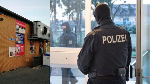 Sammelstelle von Ansaar International in Mainz-Kastel (li.), Polizei-Razzia (Archivbild, rechts)