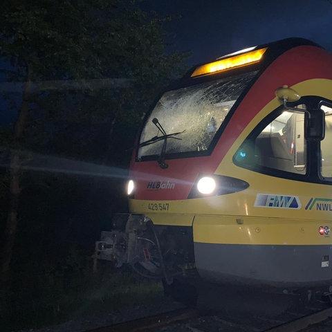 Die Scheibe der Fahrerkabine der verunglückten Bahn bei Münzenberg wurde zerstört.
