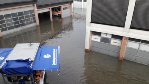 Das überflutete Rettungs- und Katastrophenschutzzentrum in Alsfeld