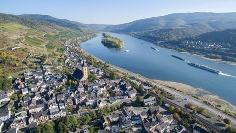 Rhein bei Lorch aus der Vogelperspektive
