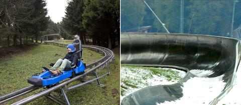 Collage Rodelbahn im Winter