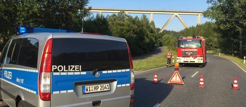 Polizei Sperre Rombachtalbrücke