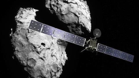 Montage von Komet Tschuri und Raumsonde Rosetta