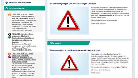 """Screenshot der RMV-Seite mit Warnhinweisen wegen Sturmtief """"Sabine"""""""