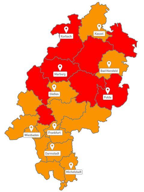Hessenkarte mit Unwetterwarnungen
