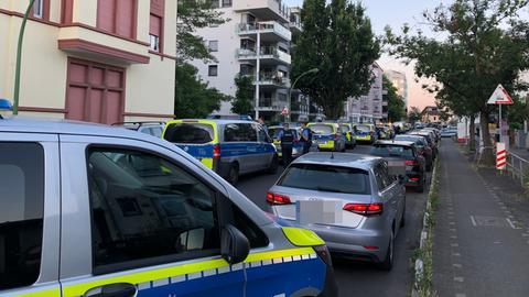 Many police cars on street