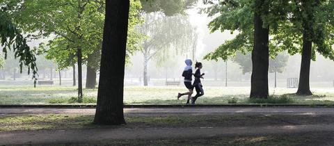 Zwei Jogger in einem Park