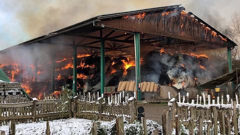 Brennende Scheune in Fulda