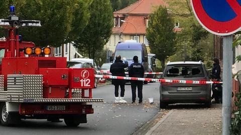 Am Tag danach: Der abgesperrte Ort der Schießerei in Alsfeld