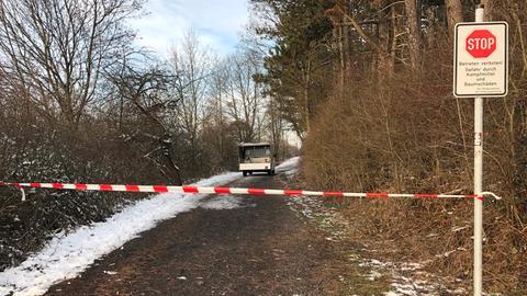 Gesperrter Waldweg am Rauschenberg
