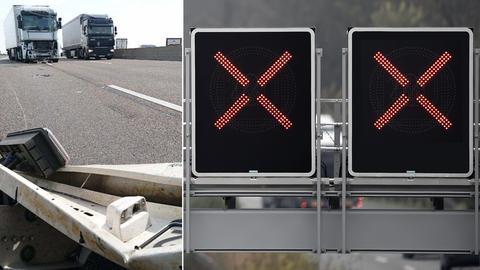 Schilder mit Hinweis auf gesperrte Fahrstreifen