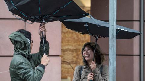 Schirme Regen Wind
