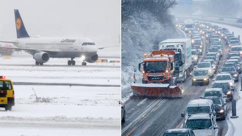 Bildkombination: Flughafen Frankfurt - Autobahn Wiesbaden mit Räumfahrzeug und Stau
