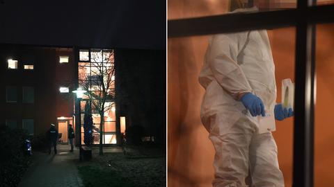 Tatort in Darmstadt und Spurensicherung bei der Arbeit