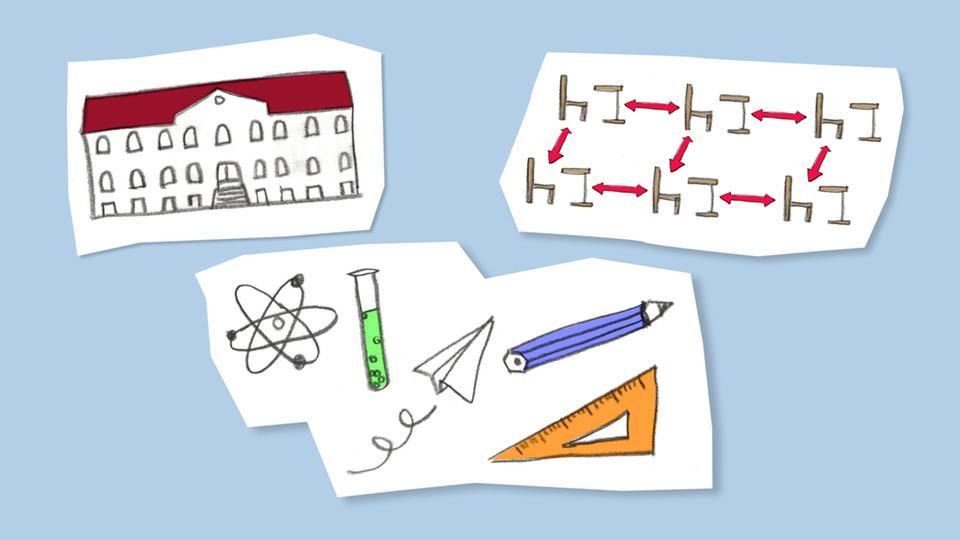 Die Grafik zeigt Illustrationen zum Thema Schule
